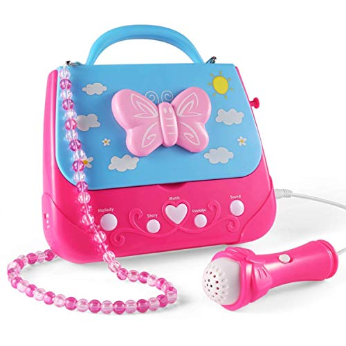 WenToyce Kids Karaoke Machine, Girls Karaoke Machine Toys Music Player with Microphone and Lights, Battery Operated Portable Singing Machine with Adorable Sing-Along Boom Box for Girls
