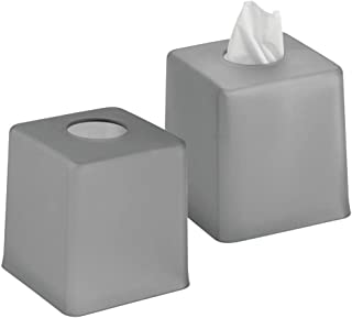mDesign Plastic Square Facial Tissue Box Cover Holder for Bathroom Vanity Countertops, Bedroom Dressers, Night Stands, Desks and Tables - 2 Pack - Charcoal Gray