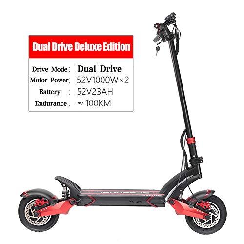 LXS Scooter eléctrico eléctrico de Ultra Alta Velocidad para Adultos Plegable, Motor Dual de 4000 W de Potencia máxima | 52V 23Ah 1196Wh Batería | 60 Millas de Distancia | Grado de Escalada 45 °