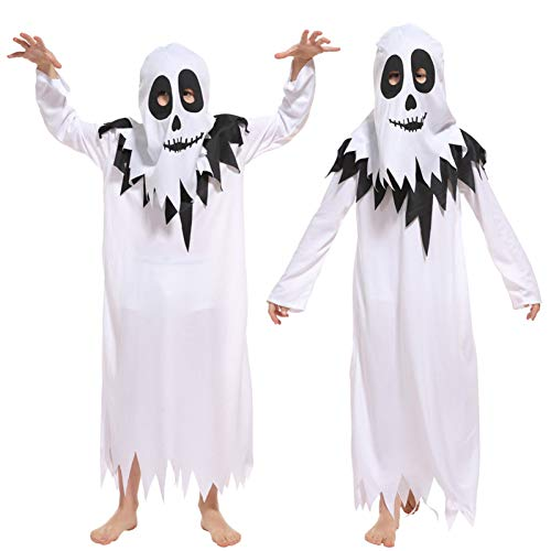 Scary Kids Boys White Ghost Kostüm für Halloween Weihnachten Masquerade Horrible Elves Robe Kinder Cosplay Kleidung