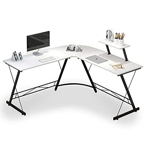 Escritorio de esquina,Escritorio en Forma de L Escritorio Blanco Mesa Oficina Mesas Grandes De Madera Escritorio esquinero para ordenador, ideal para el hogar, oficina, escritorio en forma de L, table