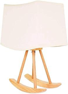 Diaod Lampe de Table en Bois, Pied de Lampe de Table Berceau en Bois, Abat-Jour Blanc