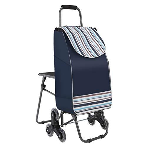 Baibao Warenkorb Treppensteigen, Kofferkuli Wagen mit Stühle Tragbares Einkaufswagen Folding Stapelstuhl rot (Color : Blue)
