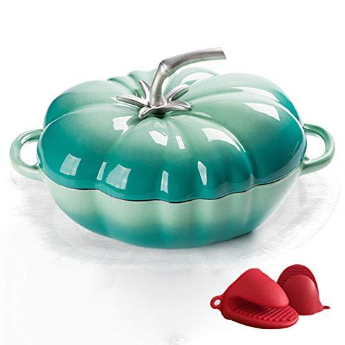 Cocotte En Fonte Émaillée, Casserole Antiadhésive, Cocotte Aux Tomates En Fonte Pour Viandes Et Légumes À Cuisson Lente,Bleu