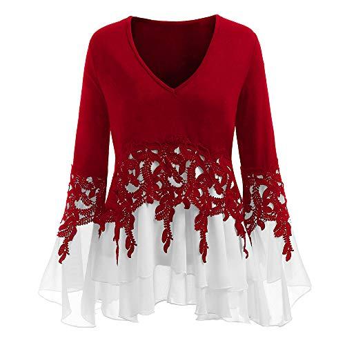 VEMOW Frühling Herbst Elegant Damen Aufflackernhülse Applique Flowy Chiffon V-Ausschnitt Appliques Casual Täglichen Party Langarm Bluse Tops(X1-Rot, 48 DE / 4XL CN)