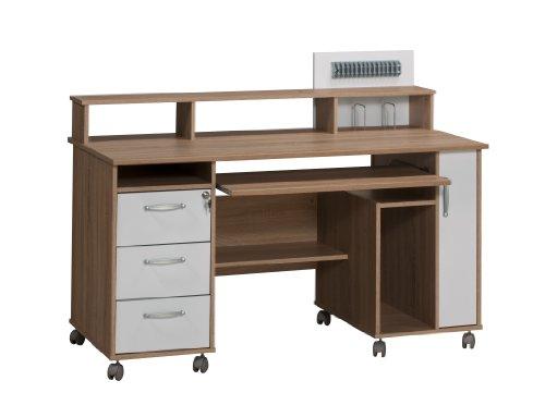 MAJA-Möbel 9475 2539 Schreib- und Computertisch, Sonoma-Eiche-Nachbildung - Icy-weiß, Abmessungen BxHxT: 141,1 x 104,4 x 67 cm
