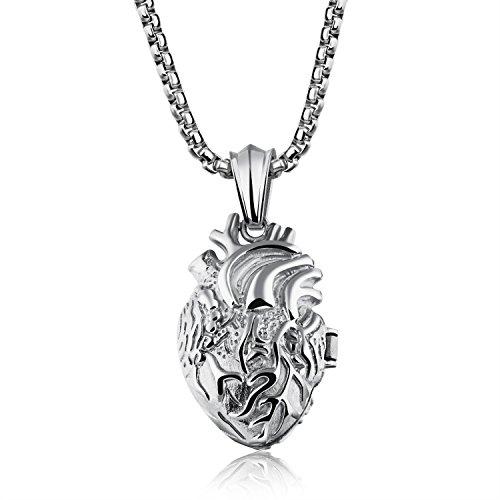 PURROMM Creativo Órgano Humano Forma Collar, corazón Colgante Personalidad Blanco Acero Regalos...