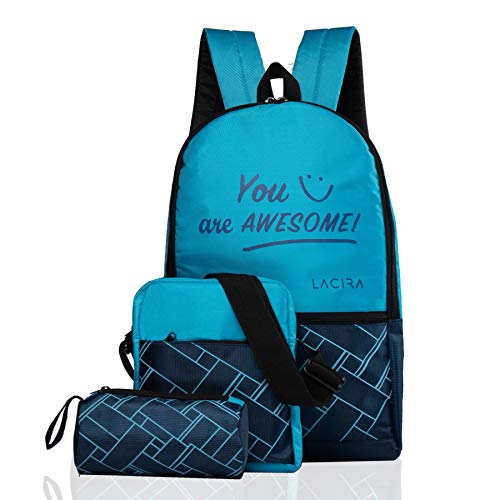 LACIRA® - Set of 3 in 1 Combo Lightweight School/College Backpack set with Padded Strap