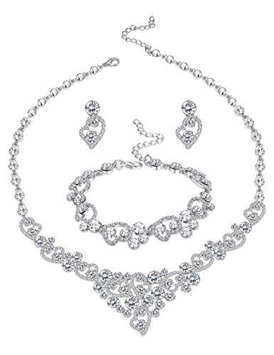 LOYALLOOK Silver-Tone Crystal Heart Bridal Bridesmaid Rhinestone Necklace Set Bracelet Dangle Earrings Wedding Prom Jewelry Sets