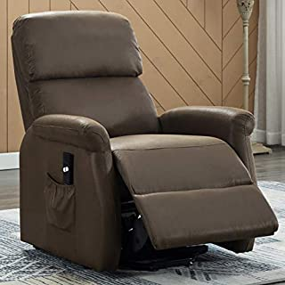 Bonzy Home Fabric Power Lift Recliner Chair for Elderly with Side Pocket,Single Sofa with Remote Control Recliner Chair for Home Theater Seating (Chocolate)