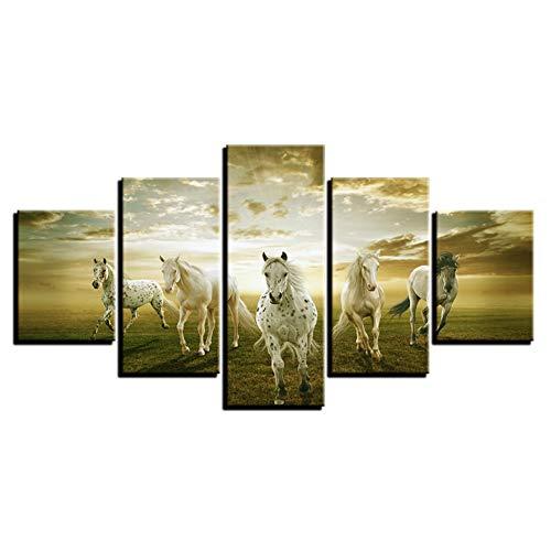 WHFDH canvas schilderij muurschildering kunst woonkamer decoratie 5 stuks running Horse beeld Hd Print Wolke dier paard poster 10x15 10x20 10x25cm Geen frame.