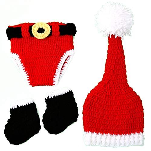 Tomaibaby Crochet Baby Outfits Recién Nacido Fotografía Prop Ropa Navidad Elf Bebé Disfraz Accesorio Sombrero de Punto Pañal Disfraz Set 0-1 Meses