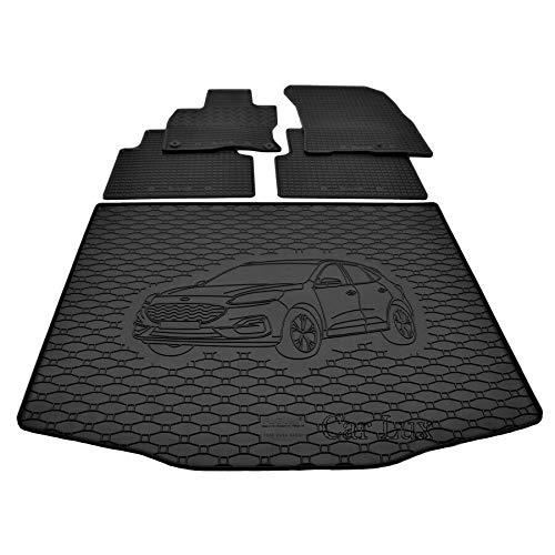 Car Lux DUO02208 - Alfombra Protector Cubre Maletero y Alfombrillas de Goma a Medida para Ford Kuga 3 Desde 2019-