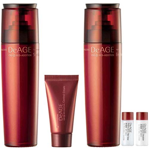 [Charmzone] De Age Red Addition 2 KIND SET - Skin Toner 130ml, Emulsion 130ml, Control Cream 15ml Plus Free Travel Size ( Skin Toner 7ml and Emulsion 7ml )