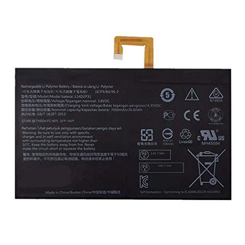 Bestome Ersatz Akku Kompatibel mit Lenovo Tab 2 A7600-F A10-70F Tab2 A10-70 A10-70L TB2-X30 TB2-X30M BL-L14D2P31 3.8V 7000mAh