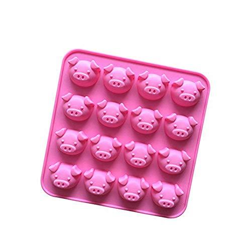 Ndier Silikon-Kuchenform Schweinekopf Form Muffin Form 16 Mulden Schokolade Gebäck Muffin Form zufällige Farbe