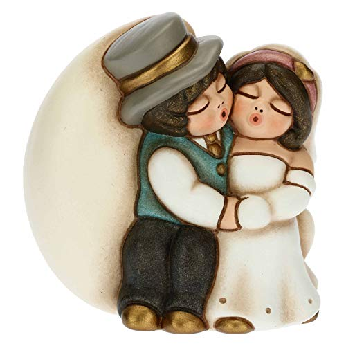 THUN - Coppia Sposini Romantici su Luna - Bomboniere Matrimonio - Linea Cerimonia - Formato Piccolo - Ceramica - 6,8 x 4,5 x 7 h cm