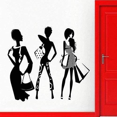 Muursticker slaapkamer decoratieve muurtattoos Lifestyle Shopping Mode meisje silhouet 56X88cm