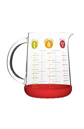 Pebbly PKM-1000R Verre Mesureur/Doseur, Multicolore, 1 litre-rouge