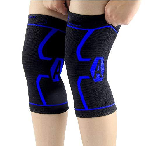 Knieschützer Elastische atmungsaktive Entlastung Verhindern Sie Sport Kniestütze Beinstützenschutz für Laufen, Radfahren, Basketball Neu (M)