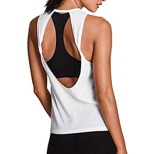 Camiseta Sin Mangas Mujer SHOBDW 2020 Nuevo Verano Deporte Camisetas Mujer Tirantes Baratas Activewear Sexy Espalda Abierta Yoga Camisa Entrenamiento Deportivo Gimnasio Chaleco(Blanco,L)