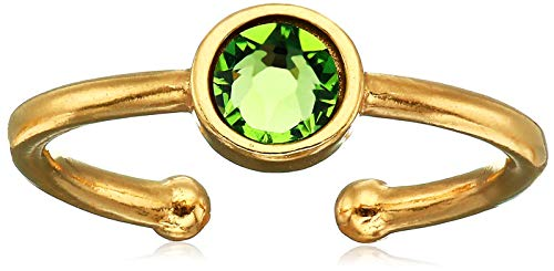 Alex and Ani Women's Swarovski Color Code Adjustable Ring August Peridot, 14kt Gold Plated
