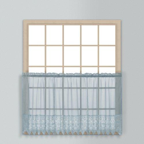 United Curtain Valerie Lace Sheer Kitchen Tiers, 52da 91,4cm, Blu, Set di 2
