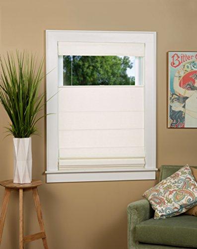 """North Country Window Wear Cordless Thermal Backed Top Down Bottom Up Roman Shade 34"""" W x 64"""" L - Color: Alabaster"""