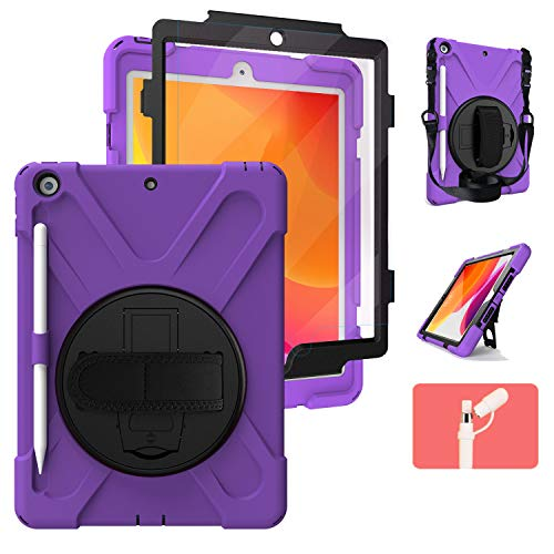 iPad 7th Generation Case 10.2 for Kids, [Built in Screen Protector] TSQ Full Body High Impact Resistant Kidsproof Drop Protection Rubber Case with Pencil Holder/Stand/Hand Grip Strap for Gilrs,Purple