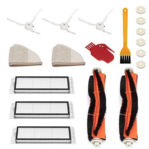 WEYO Kit di Ricambi per Xiaomi Roborock S50 S51 S55 S5 S6 Roborock 2 Xiaomi MI Mijia Robot Aspirapolvere, Spazzola Principale, Spazzola Laterale, Filtri HEPA, Spazzola di pulizia, ecc - 18 pezzi