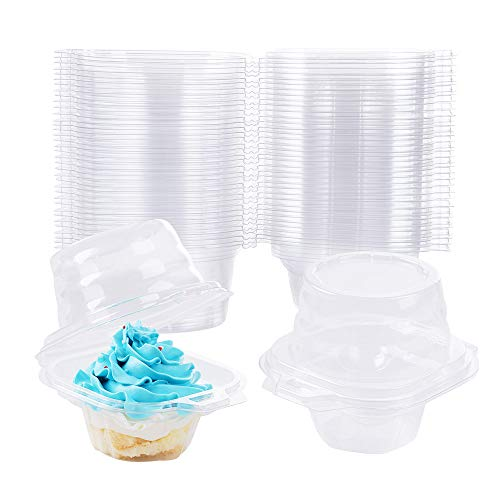 60 PCS Individual Cupcake Container, Stackable, Deep Dome, BPA-Free, Clear Plastic Cupcake Containers for Cupcakes, Muffins