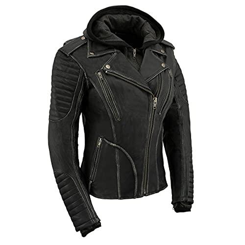 Milwaukee Leather MLL2516 Women's Black Leather Rub off Jacket with Hoodie Jacket - Medium