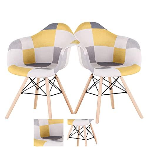 Nórdico retro casa comedor silla simple silla trasera cafe silla mesa y silla (amarillo-b, 2)