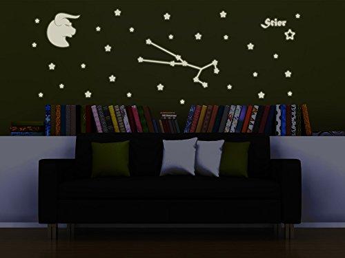 Bilderdepot24 Wandtattoo Leuchtfolie Sternzeichen Stier - Fluoreszierend und Nachtleuchtend