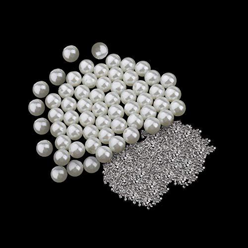 Trimming Shop Remaches de perlas redondos con cuatro clavos para adornar ropa, bolsos, artesanía en cuero, decoración de zapatos, fabricación de joyas, 8 mm, 100 juegos