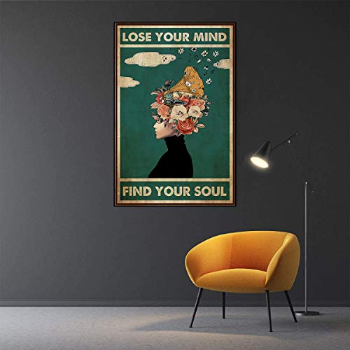 Lose Your Mind Find Your Soul Poster Mental Health Music canvas wall art Poster Mental Vintage canvas print painting Mental Health Awareness Wall Art Minimalist Artwork for Home Office Decor unframed (20X28inch Unframed)