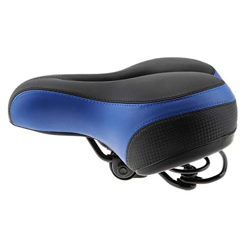 Cycling Bicycle Saddle Seat Wide Thicken Cushion Soft Silicone MTB Road Bike Saddle with Reflective Stickers (Color : Blue)