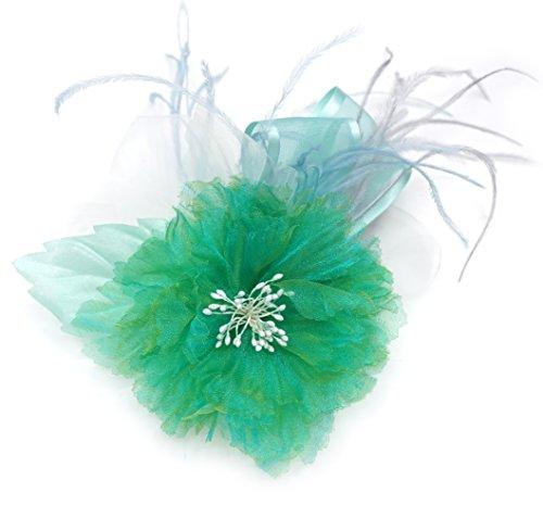 Spilla a Fiore in Tessuto Organza e Piuma, Colore Verde e Avorio.