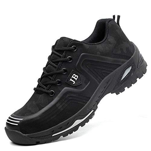Zapatos de Seguridad para Hombre Zapatillas Zapatos de Mujer Seguridad de Acero Ligeras Calzado de Trabajo para Comodas Unisex Zapatos de Industria y Construcción 539-Negro Blanco 36