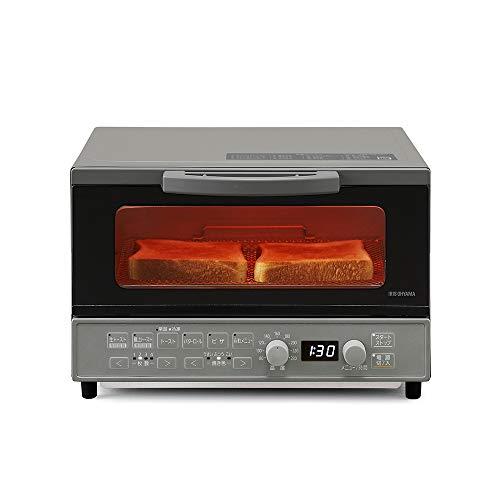 アイリスオーヤマ オーブントースター 1200W 温度調節機能(80~230度) タイマー60分 自動メニュー20種類 生トースト 極上トースト 食パン4枚 上下ヒーター4本 マイコン式 グレー 2021年モデル MOT-401-H