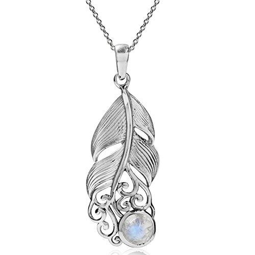 Silvershake Natural Moonstone 925 Sterling Silver Feather Victorian Style Pendant with 18 Inch Chain Necklace