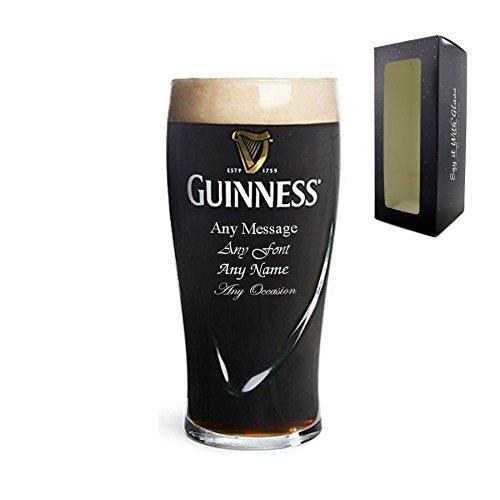 Vaso de cerveza de pinta con grabado personalizado Guinness Lager – Regalo perfecto
