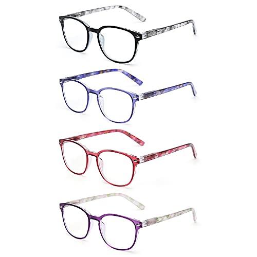 JM Lesebrille Satz von 4 Qualität Federscharnier Leser Damen Herren Brille Für Lesen +1.0 Mischfarbe