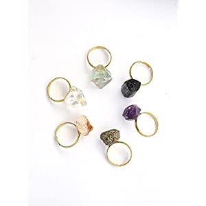 Minimalist Raw Fluorite Stackable Crystal Ring