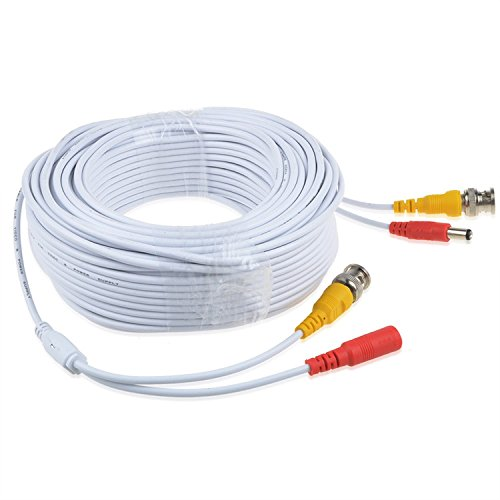 PK Power 150ft White BNC Connector Video Power Wire Cord for Q-See Camera Cable QT5440 QT228