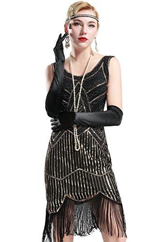 BABEYOND Retro 1920s Stil Damen Kleid Karneval Flapper Kleid V Ausschnitt Troddel Gatsby Mottoparty Damen Kostüm Kleid (Etikette L/ UK16/ EU44, Schwarz und Gold)