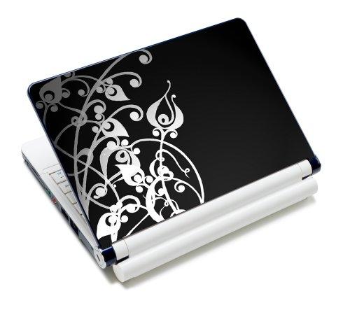 wortek Universal Notebook Skin für Laptops, Ultrabooks & Netbooks bis ca. 10,2 Zoll - Ranke Schwarz Weiß 2