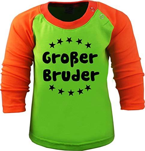 Baby/Kinder Baseball Langarm T-Shirt (Farbe: Lime-orange) (Gr. 110/116) Großer Bruder