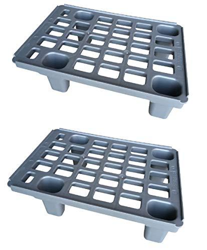 2x Leichtpalette 60x40 Kunststoffpalette im 1/4-Europaletten Maß inkl. gratis Zollstock * Viertel Palette, 2er Set