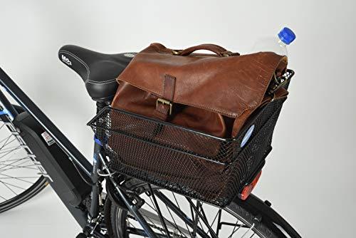 """Fischer Fahrradkorb """"School"""" I Gepäckträger-Korb I Fahrradkorb hinten I Hinterradkorb I 25kg Tragkraft I schwarz - 4"""